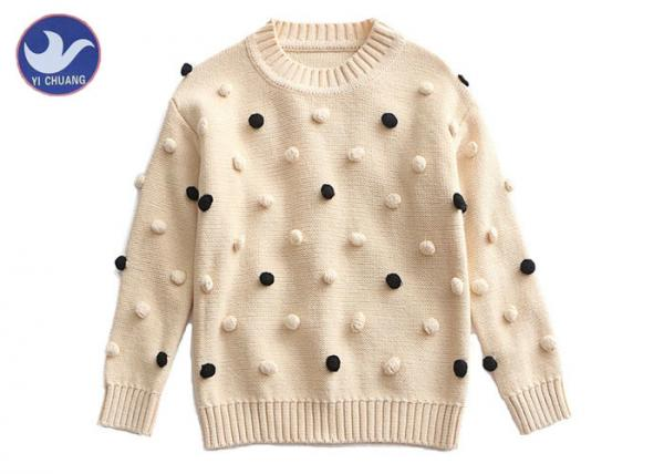 Buy Pompom Ball Decoration Girls Pullover Sweaters Cute Cotton Mock Neck Knit Jumper at wholesale prices