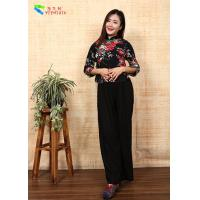 Quality Black Asian Tradition Chinese Cheongsam Top , Traditional Linen Blouse Top With Flower for sale