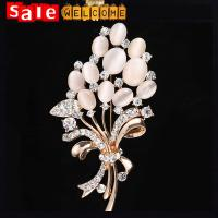 China Large Opal Flower Brooch Cardigan Sweater Pin Shawl Buckle Brooches For Women Jewellery on sale