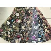 Multi Color Embroidered 3D Flower Lace Fabric / Fabric , Bead Lace Tulle For Dress