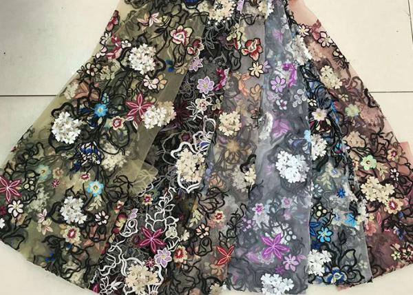 Buy Multi Color Embroidered 3D Flower Lace Fabric / Fabric , Bead Lace Tulle For Dress at wholesale prices