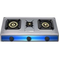 Quality Natural Gas Table Top Gas Stove Three Burner With Square Enamel Grill for sale
