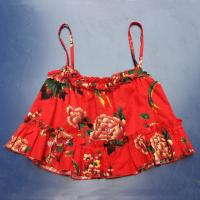 Buy cheap Sexy Printed Sleeveless Halter Crop Top S-XXXL Size , Ruffles Decoration from wholesalers
