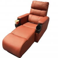 Quality Leatehr Recliner Orange Movie Theater Seats With Cup Sacuer For Cinema, Home, Living Room for sale