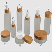 Quality Frosted Bamboo Cosmetic Glass Jars Sets 15g 30g 150g 50ml 100ml 120ml for sale