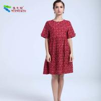 Quality 100% Cotton Material Women'S A Line Dresses , Short Sleeve Casual Summer Dresses for sale