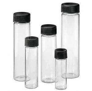 Quality Black  Phenolic Cap Neutral 4.5ml 1 Dram Glass Screw Top Vials for sale