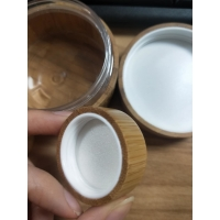 Quality 5g 100g 50g bamboo cosmetic jars For Face / Eye Cream / Body Lotion for sale