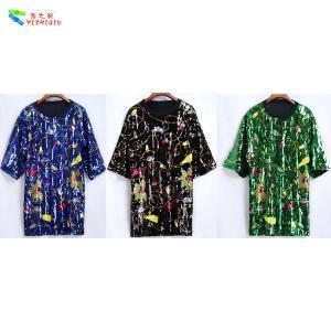 Quality Custom Oversized Womens Sequin Clothing Short Sleeve Anti - Wrinkle for sale
