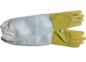 Quality Yellow Sheepskin Beekeeping Gloves With White Soft Ventilated Part White Elastic Cuff for sale