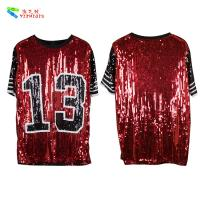 Buy Red Black Plus Size Party Womens Sequin Clothing Round Neck Elbow Sleeve at wholesale prices