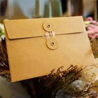 Quality Postcard Storage Packaging Kraft Paper Envelope With Button / String Closure for sale