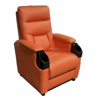 Quality Leather Home Movie Theater Seats VIP Sofa With Tilting Cup Holder for sale