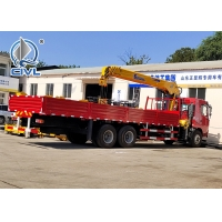 Quality HOWO 6x4 10 Ton Folding Boom Truck Mounted Crane Red Color,Material Is Carbon Steel for sale