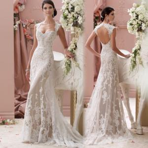 China Romantic White Mermaid Wedding Dresses Perspective Lace Slim Waist Mermaid Wedding Dress on sale