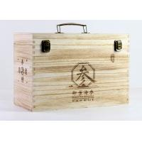 Quality Engraved Personalised Paulownia Wood Wine Box Hinged Lid For 6 Wine Bottles for sale