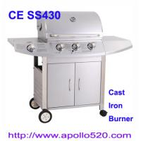 Quality Outdoors Gas Grill cast iron 3burner plus side burner for sale