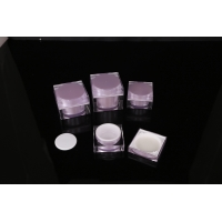 Quality hand lip crystal pump empty square white Screen Printing Airless 30ml Cosmetic Cream Jars for sale