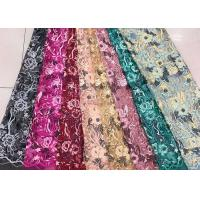 Quality Gold Silver Sequin Fabric , Multi Colored Embroidered Floral Dress Lace Fabric For Gown for sale
