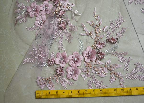 Buy Embroidered 55 Inch Peach Color 3D Floral Rose Lace Fabric With Beads And Sequins at wholesale prices