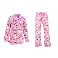Quality 100% Cotton Flannel Button Up Womens Pyjama Sets With Piping And Long Pants for sale