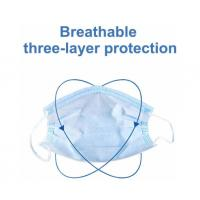 Quality Blue  Disposable 3 Ply Face Mask , Disposable Mouth Mask Good Breathability for sale