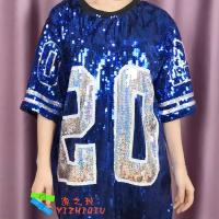 Quality Blue Sequin Tee Shirt Dress Sorority Stage Performance Clothing Number 20 for sale