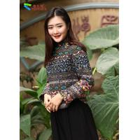 Quality Body Shape Hugging Women Cheongsam Blouse Decorated With Green Button for sale