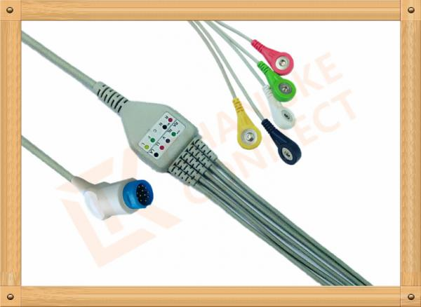 Buy Philips 12 Pin Snap IEC ECG Patient Cable 5 Leads Copper Conductor Material at wholesale prices