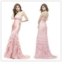 Quality Strapless pink chiffon evening dress for sale
