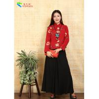 Quality Embroidered Chinese Cheongsam Top , Floral Pattern Traditional Chinese Shirt for sale