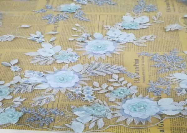Buy Embroidery 3D Floral Wedding Dress Lace Fabric By The Yard With Beads Light Blue at wholesale prices