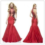 Quality Sexy mermaid red taffeta prom dress for sale