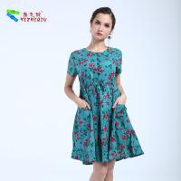 Quality Knee Length Short Cotton Summer Dresses Flower Pattern Printing , None Decoration for sale