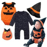 Quality Unisex Cute Newborn Baby Clothes Halloween Playsuit 3 Sets Pumpkin Rompers for sale