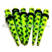 Quality Multi Leaf Ear Stretchers Tapers Green Resin 8mm For Anniversary for sale