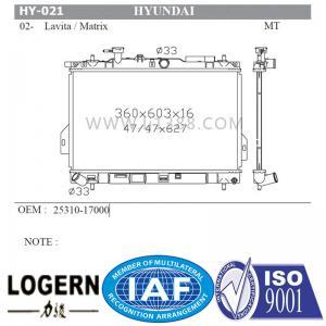 Quality Tube Fin Core Hyundai Car Radiator For Hyundai 02- Lavita / Matrix for sale