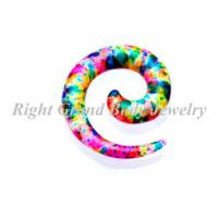 Quality 8MM 10MM 12MM Spiral Ear Tapers Body Piercings , Mixed Color Splatter for sale