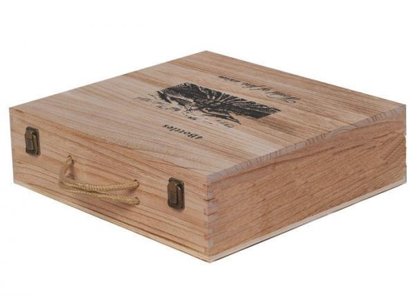 Buy Natural Personalised Wooden Wine Gift Boxes , 6 Bottles Wooden Wine Gift Box With Rope Handle at wholesale prices
