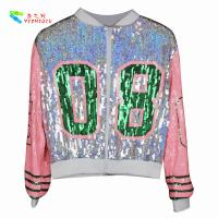 Quality Casual Silver Pink Womens Sequin Clothing Zip Up Bomber Jacket Free Size for sale
