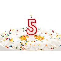 Quality Birthday Candle Number 5 With Red Color Edge , Lovely Candles For Cake Decorating for sale