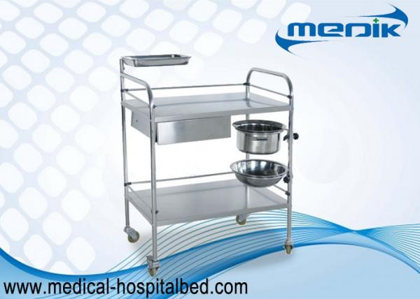 Buy Protection Guardrails Stainless Steel Instrument Trolley With One Drawer One Bucket at wholesale prices