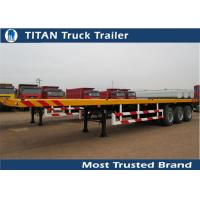 China Flatbed trailer truck , tri - axle 40ft flat bed trailer with 12pcs container lock on sale