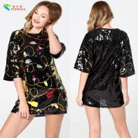 Buy Custom Oversized Womens Sequin Clothing Short Sleeve Anti - Wrinkle at wholesale prices