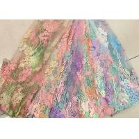 Quality 3D Beaded Lace Fabric , Scalloped Multi Color Floral Embroidered Fabric For Skirt for sale