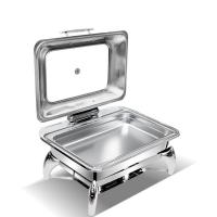 Quality Folding Flame Save Place Stainless Steel Rectangular Chafing Dish Buffet Set for sale