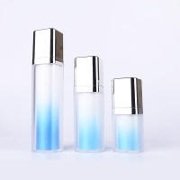 Quality Sky Blue Lotion Inner Twist Up Pump Cosmetic Packaging Bottles 15ml 30ml 50ml for sale