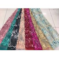 Quality Embroidered Sequin Lace Fabric , Floral Tulle Fabric For Fashion Party Gown Dress for sale