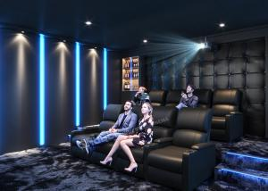 Quality Grey Home Cinema System With Leather Electric Recliner Sofa For Movie / Theater / House for sale