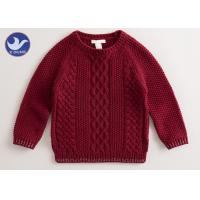 Quality Multi Cable Knitting Girls Long Sleeve Sweaters , Girls Red Sweater Side Slit for sale